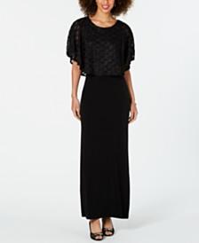 Connected Jacquard Cape Maxi Dress