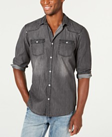 I.N.C. Men's Faded Gray Denim Shirt, Created for Macy's