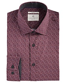 Con.Struct Men's Slim-Fit Stretch Circle Pattern Dress Shirt