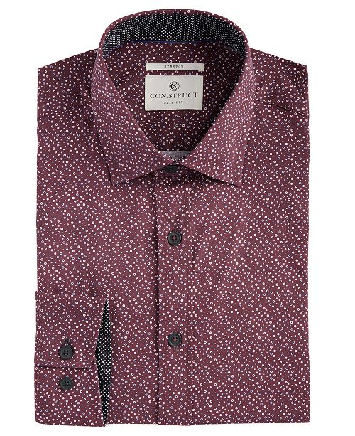 ConStruct Con.Struct Men's Slim-Fit Stretch Circle Pattern Dress Shirt