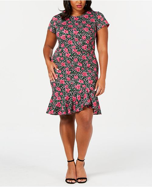 Betsey Johnson Trendy Plus Size Flounce-Hem Sheath Dress