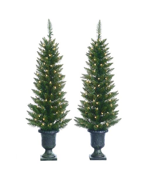 Sterling 4Ft. Potted Cedar Pine Trees with 100 Clear Lights - Set of 2