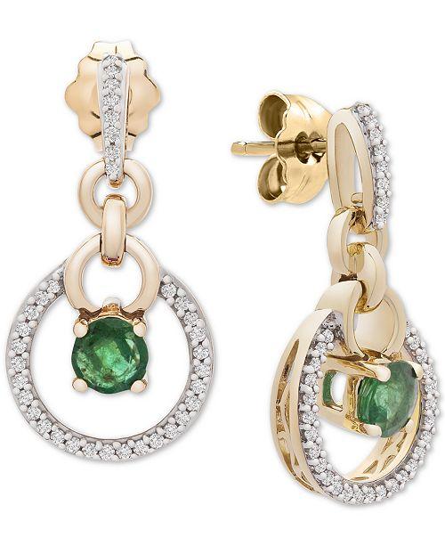 Macy's Emerald (3/8 ct. t.w.) & Diamond (1/6 ct. t.w.) Drop Earrings in 14k Gold