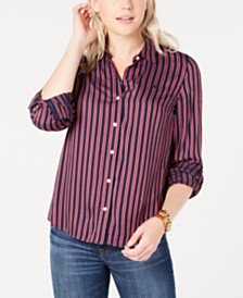 Tommy Hilfiger Striped Button-Up Shirt, Created for Macy's