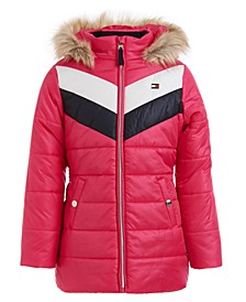 Big Girls Quilted Colorblocked Jacket With Faux-Fur Trim