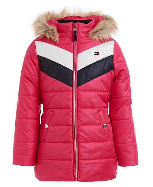 Tommy Hilfiger Big Girls Quilted Colorblocked Jacket With Faux-Fur Trim