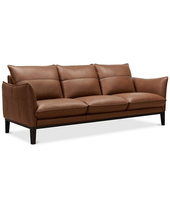 "Furniture Chanute 88"" Leather Sofa, Created for Macy's"