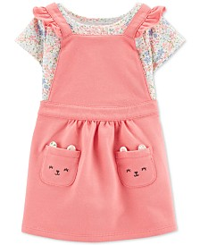 Carter's Baby Girls 2-Pc. Cotton Floral-Print Bodysuit & Mouse Face Skirtall Set