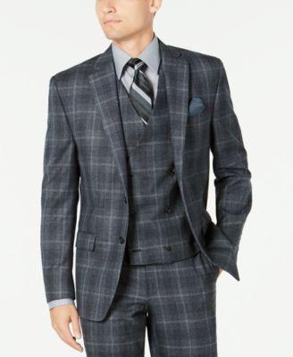 Men's Classic-Fit UltraFlex Stretch Charcoal Plaid Suit Separate Jacket