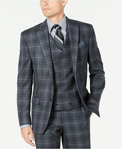 Lauren Ralph Lauren Men's Classic-Fit UltraFlex Stretch Charcoal Plaid Suit Separate Jacket