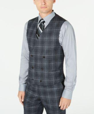 Men's Classic-Fit UltraFlex Stretch Charcoal Plaid Suit Separate Vest
