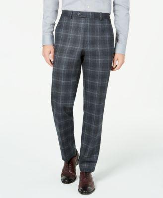 Men's Classic-Fit UltraFlex Stretch Charcoal Plaid Suit Separate Pants
