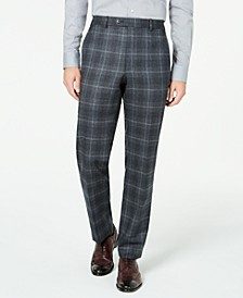 Men's Classic-Fit UltraFlex Stretch Charcoal Plaid Suit Separate Pants