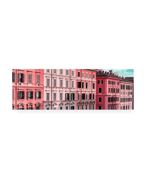 "Trademark Global Philippe Hugonnard Dolce Vita Rome 2 Hot Pink Building Facades Canvas Art - 19.5"" x 26"""
