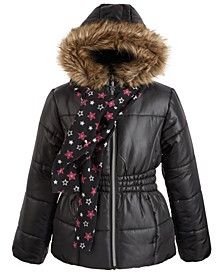 Big Girls Hooded Jacket With Faux-Fur Trim & Scarf