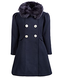 Toddler Girls Double-Breasted Swing Coat With Removable Faux-Fur Collar