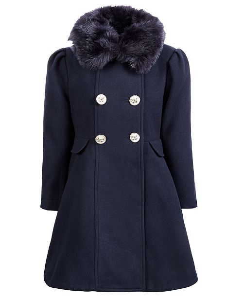 S Rothschild & CO Little Girls Double-Breasted Swing Coat With Removable Faux-Fur Collar