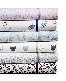 Whim by Martha Stewart Collection Novelty Print Sheet Sets, 250 Thread Count 100% Cotton Percale, Created for Macy's