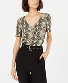 LEYDEN V-Neck Snake-Print Top