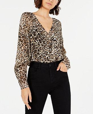 Leopard Print Dolman Sleeve Bodysuit by General