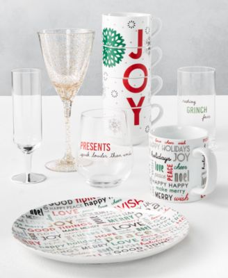 Holiday Sayings Highball Sentiments Glasses, Set of 4, Created for Macy's