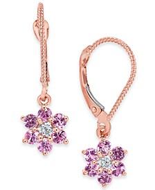 Pink Sapphire (1-1/5 ct. t.w.) & Diamond Accent Flower Drop Earrings in 14k Rose Gold
