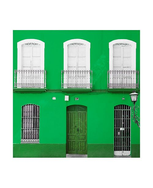 "Trademark Global Philippe Hugonnard Made in Spain 3 Green Facade of Traditional Spanish Building Canvas Art - 19.5"" x 26"""