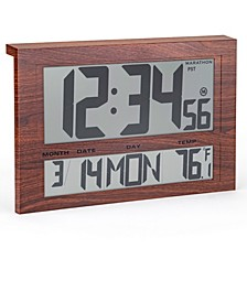 Jumbo Atomic Wall Clock with 6 Time Zones, Indoor Temperature Date