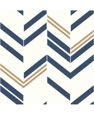 Chevron Blue Stripe Peel and Stick Wallpaper