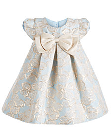 Bonnie Baby Baby Girls Pleated Metallic Jacquard Trapeze Dress
