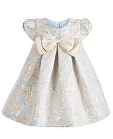 Bonnie Baby Baby Girls Pleated Metallic Jacquard Trapeze Dress