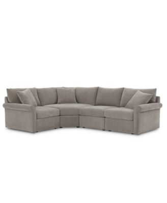 "Wedport 4-Pc. Fabric ""L"" Shape Sectional Sofa with Wedge Corner Piece, Created for Macy's"