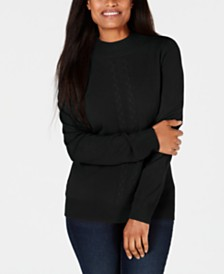 Karen Scott Cable-Front Mock-Neck Sweater, Created for Macy's
