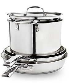 Stackable 10-Pc. Stainless Steel Cookware Set