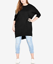 City Chic Trendy Plus Size High-Low Sweatshirt