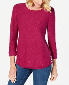 Karen Scott Cotton Marled Sweater, Created for Macy's
