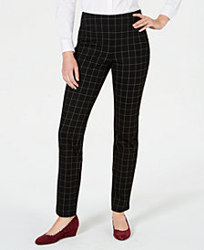 Charter Club Cambridge Windowpane-Print Slim-Leg Pants, Created for Macy's