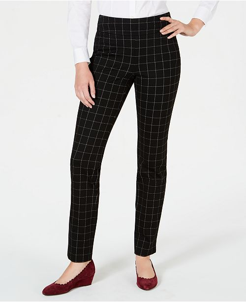 Charter Club Cambridge Windowpane-Print Slim-Leg Pants, Created for Macy's