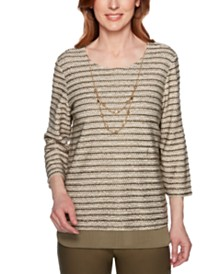 Alfred Dunner Petite Cedar Canyon Striped-Texture Layered-Look Top