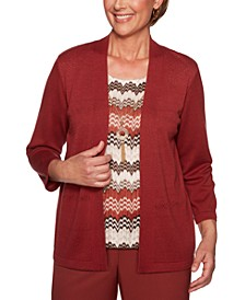 Petite Cedar Canyon Layered-Look Pointelle Sweater