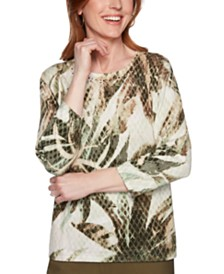 Alfred Dunner Petite Cedar Canyon Cotton Printed Studded Sweater