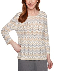Alfred Dunner Petite Boardroom Zigzag-Print Pointelle Sweater