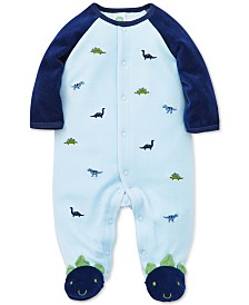 Little Me Baby Boys Embroidered Dinosaurs Footed Coverall