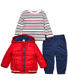 Baby Boys 3-Pc. Hooded Puffer Jacket, Striped T-Shirt & Pants Set