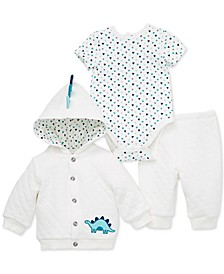 Baby Boys 3-Pc. Hooded Dinosaur Jacket, Geo-Print Bodysuit & Pants Set