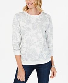 Karen Scott Printed Fleece Sweatshirt, Created for Macy's