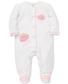 Baby Girls Dot-Print Cupcakes Footed Coverall