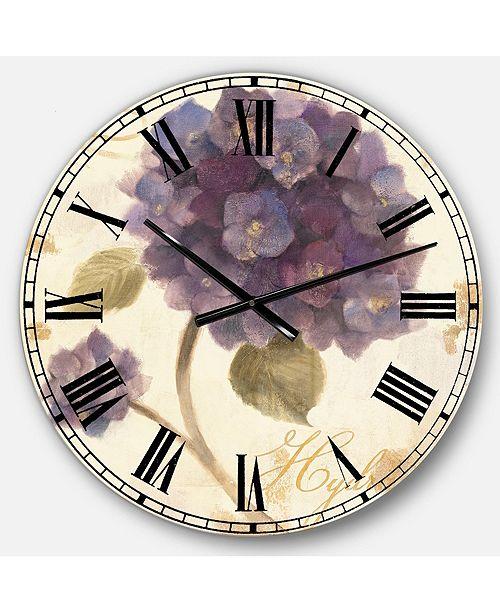 Designart Floral Cottage Oversized Metal Wall Clock