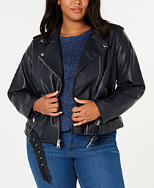 Levi's® Trendy Plus Size  Faux-Leather Belted Moto Jacket