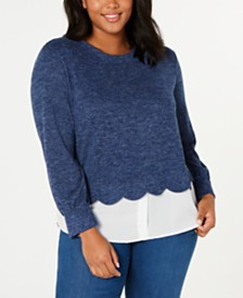 Monteau Trendy Plus Size Layered-Look Top